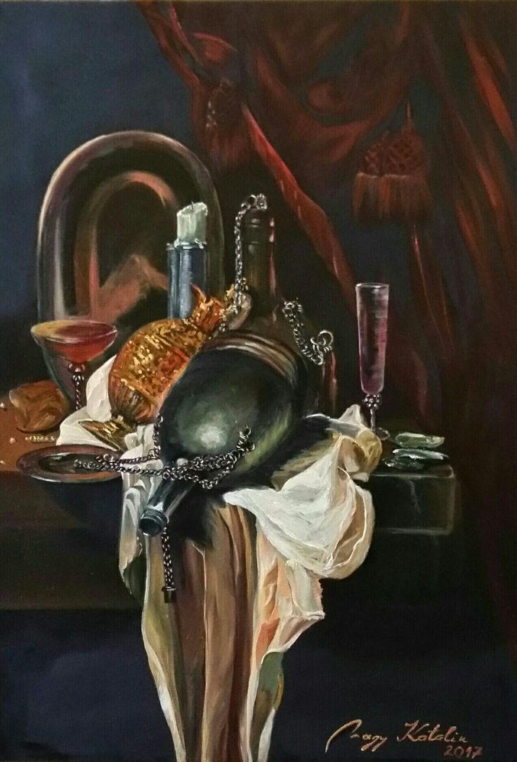 1600-ás évek csendélete 70x50 olaj, vászon  Nagy Katalin