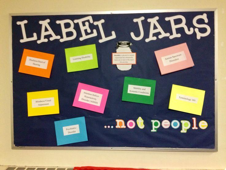 "March ""Label Jars ...not people"" mental illness bulletin board. Underneath the…"