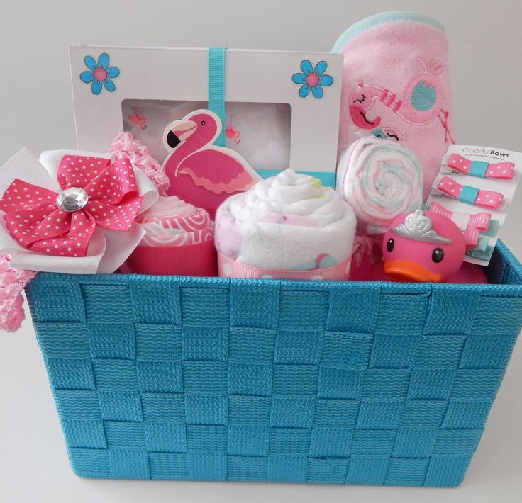 Pink Flamingo Jungle Girl Baby Shower Gift Basket Baby