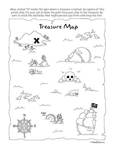 Treasure Map Coloring Page & Activity- Could work in party favor bag or pre-treasure hunt games