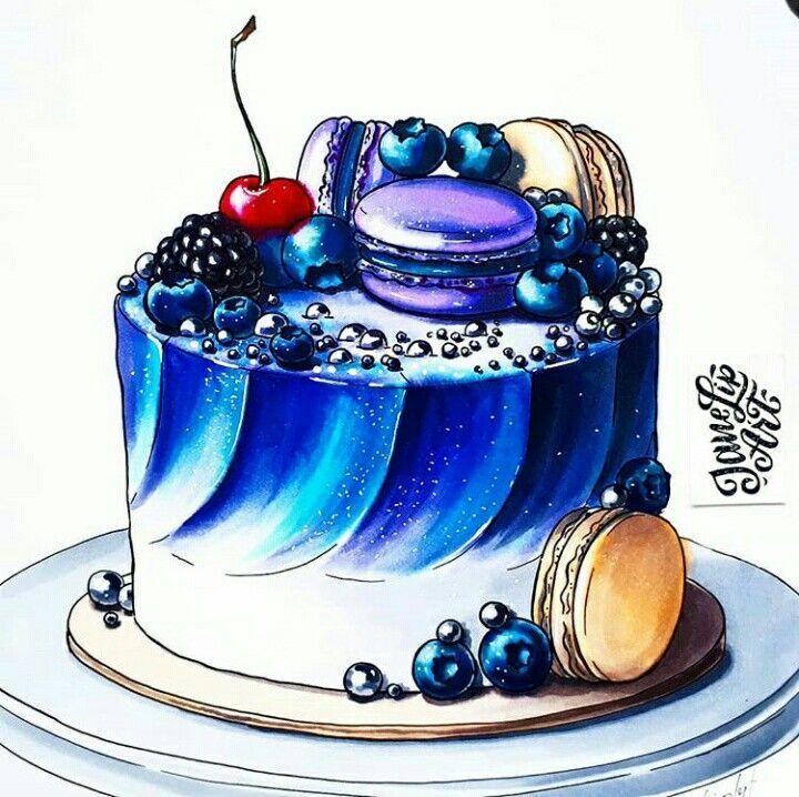 торт рисунок акварелью вместе кем