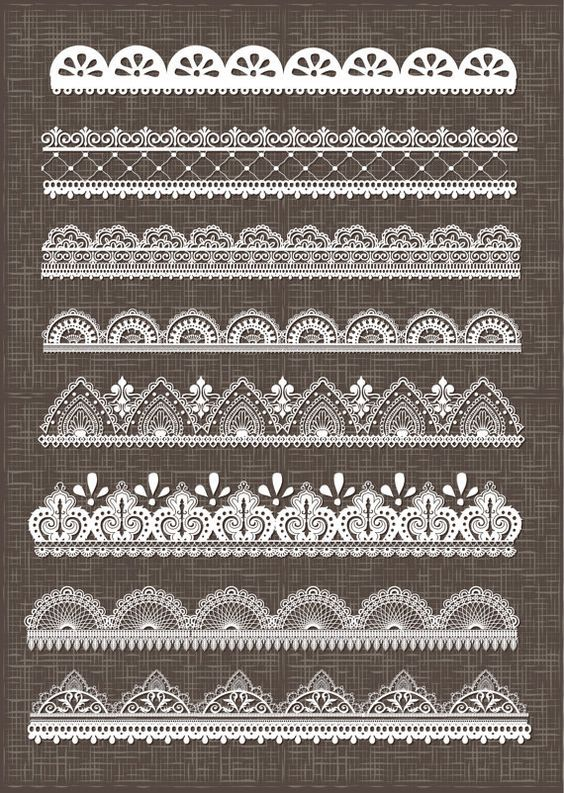A set of 8 detailed lace borders specially made for scrapbooking and invites / wedding! The set contains 8 lace borders in white. The brushes are