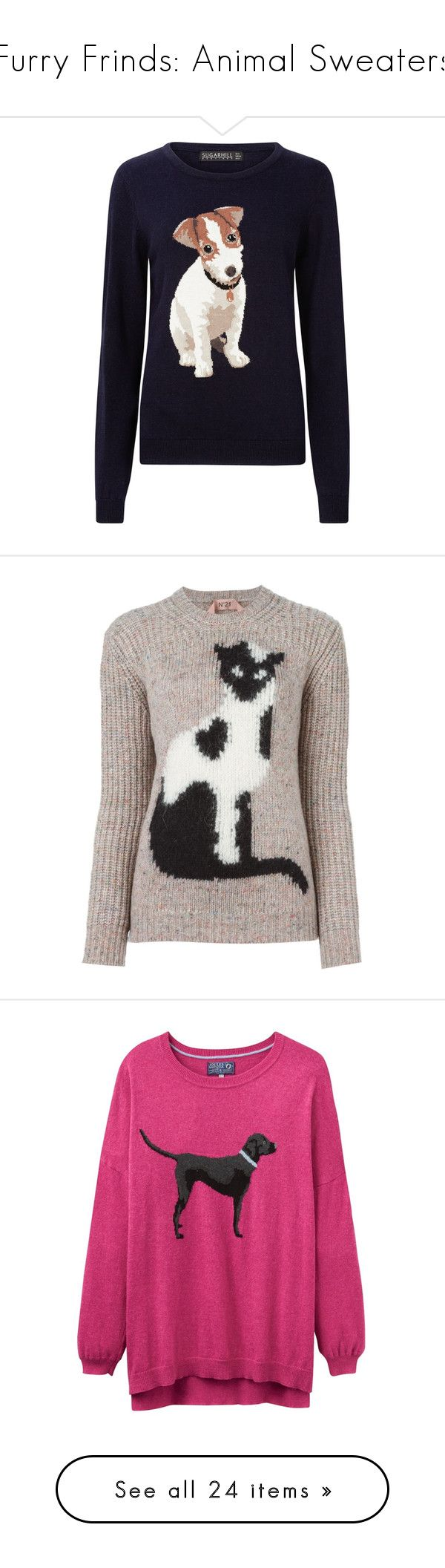 """""""Furry Frinds: Animal Sweaters"""" by polyvore-editorial ❤ liked on Polyvore featuring animalsweaters, tops, sweaters, navy sweater, round neck top, navy blue sweater, blue sweater, jumpers sweaters, nude and cat print sweater"""