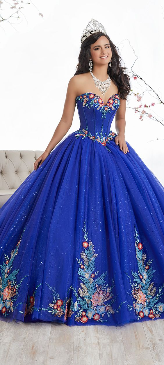 FALL '17 // Style 26869 | Laced with sublime colorful floral appliqués, this lovely ball gown is made with a glitter tulle skirt and enhanced by boning in the bodice. Lace-up back. #Quinceanera #QuinceaneraCollection