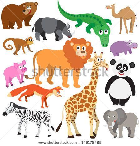 Set of Animals on white background. Wild animals isolated
