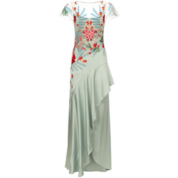Temperley London Botanist Long Dress ($2,835) ❤ liked on Polyvore featuring dresses, green color dress, temperley london, long green dress, temperley london dress and green dress
