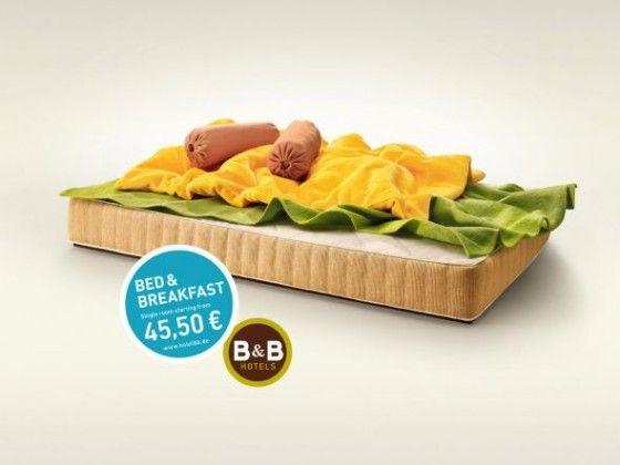 B Hotels - Campagna pubblicitaria con letti a forma di toast.