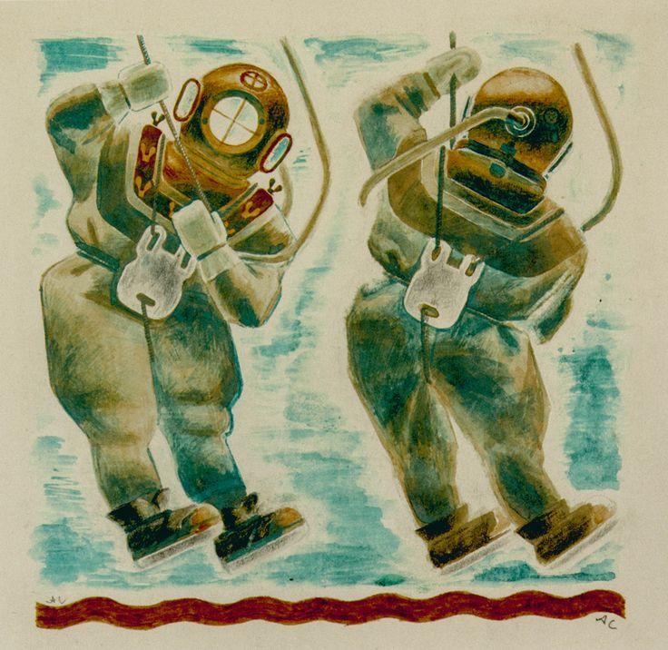 Самохвалов А.Н. Иллюстрация к книге А.Н. Самохвалова «Водолазная база». 1928
