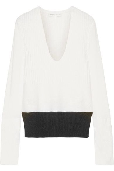 NARCISO RODRIGUEZ Ribbed Wool And Cashmere-Blend Sweater. #narcisorodriguez #cloth #knitwear