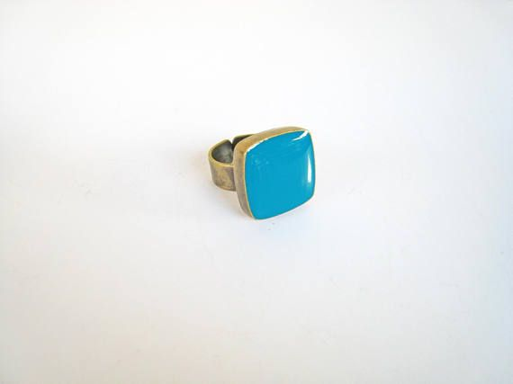 Teal statement ring bronze teal blue-green cyan ring teal