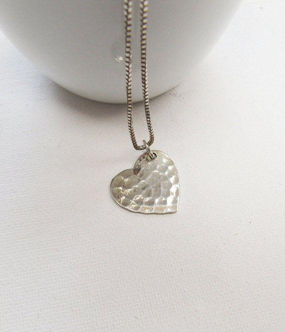 Vintage Sterling Silver Hammered Heart Pendant by BygoneAllure