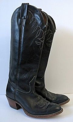 Womens Ariat Old West Black Leather Knee High Cowboy Boots 8.5 Western