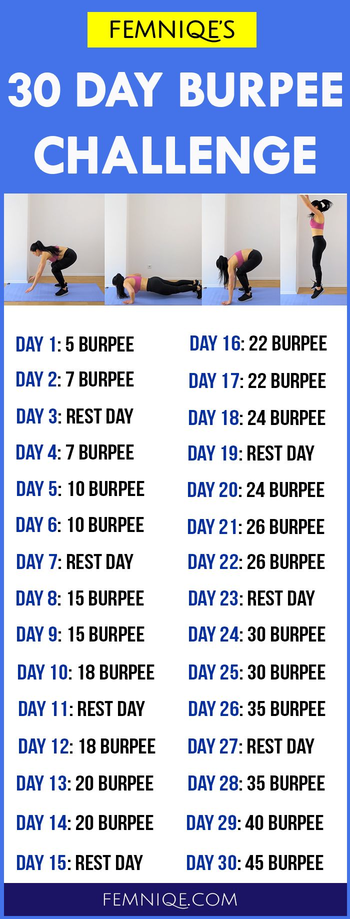 Give this 30 day burpee challenge a try for maximum fat loss - If you want a single workout that can melt fat fast then you should try burpee. This 30 day burpee challenge is beginner friendly and can be done by anyone who want to lose weight fast.