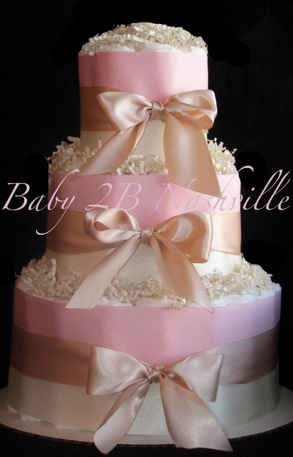 Girls Pink Blush Baby Shower Diaper Cake by Baby2BNashville, via etsy
