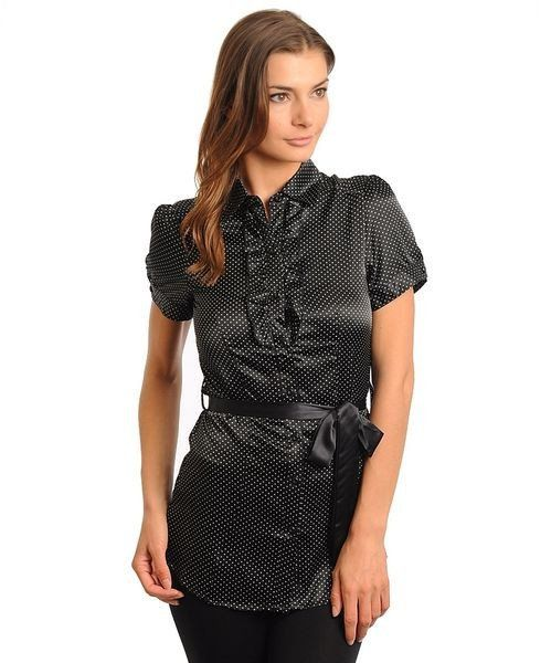 Black Career Collared Polka Dot Short Sleeve Blouse W/ Sash Belt