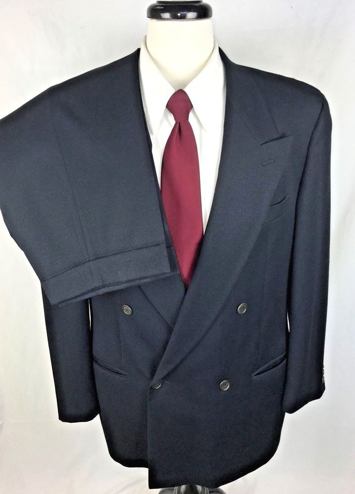 GIORGIO ARMANI MANI Suit Mens 42 Navy Blue WOOL Blazer Jacket Pants 42R #Mani #DoubleBreasted
