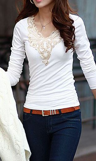 All Matched Long Sleeve V Neck White Tees