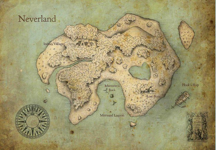 Peter Pan Neverland Map Print for $20.00 -- I wanna frame this and hang it in the living room or library!