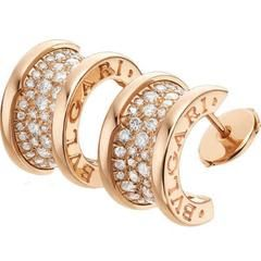 Bvlgari B.Zero1 Collection Pave Diamond Gold Earrings
