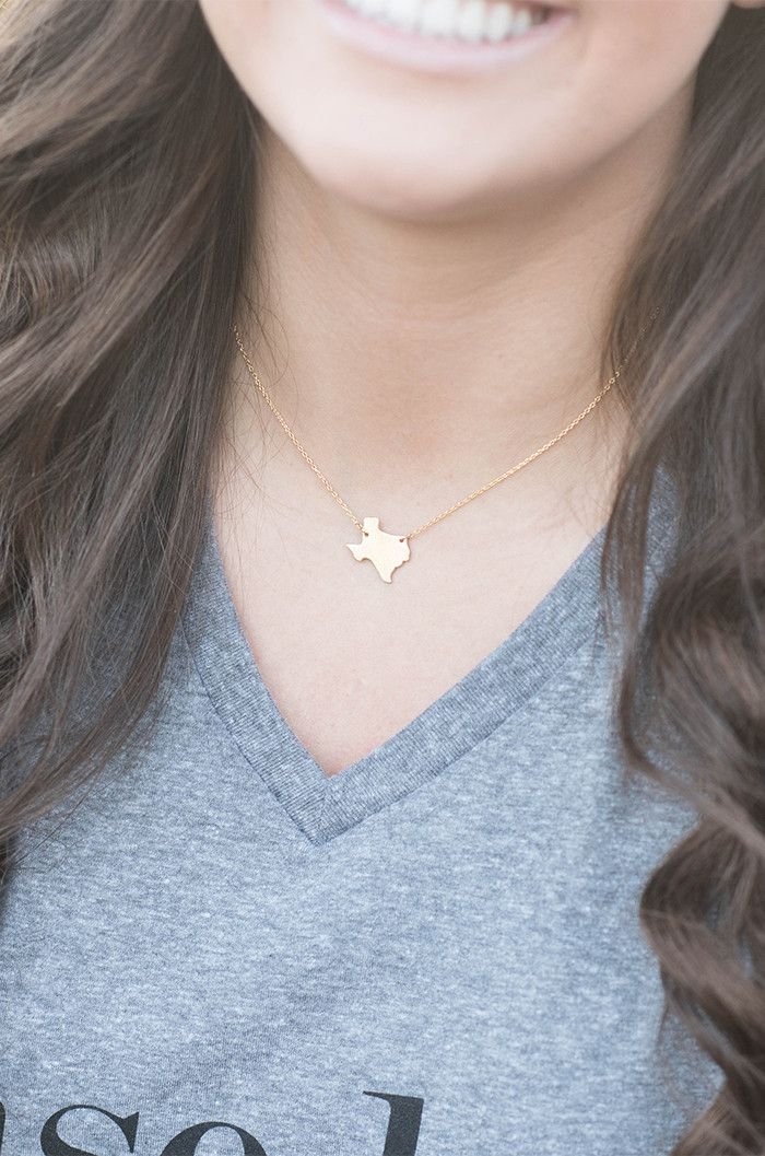 "Keep your favorite state close at heart whether you are near or far. Options for the Texas Necklace are silver, gold or rose gold. 18"" chain."