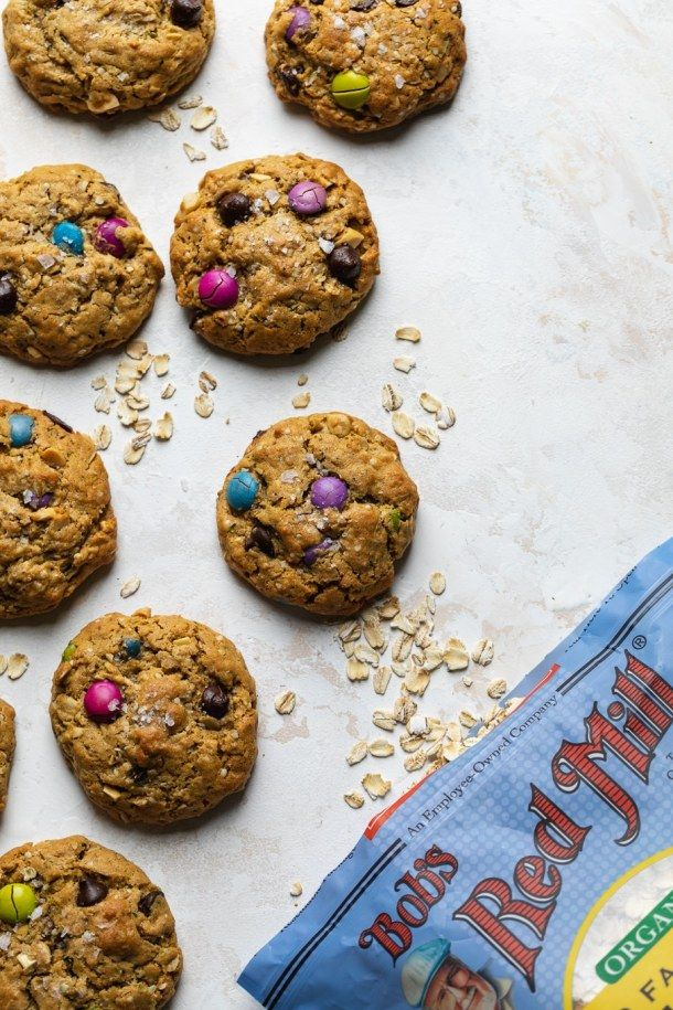 Healthy Monster Cookies Flourless Gluten Free Filled With Superfoods Recipe In 2020 Monster Cookies Monster Cookies Recipe Healthy Oatmeal Cookies