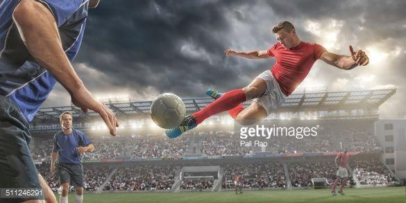 Stock Photo : Soccer Volley Kick