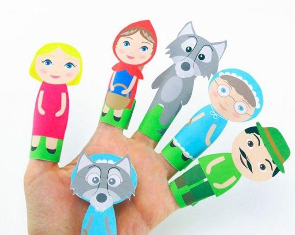 Δαχτυλόκουκλες με τις οποίες συνθέτουμε παραμύθι! (Η Κοκκινοσκουφίτσα & ο κακός λύκος)