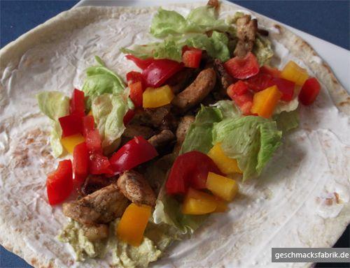Schweinenackensteak-Tortillas mit Avocado-Dip