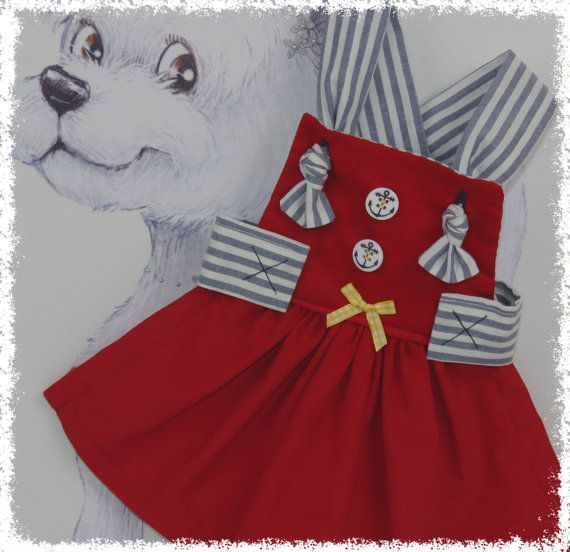 Nautical Dog Dress XSS.. Dog Dress Pet Clothes by SophiesPetCloset