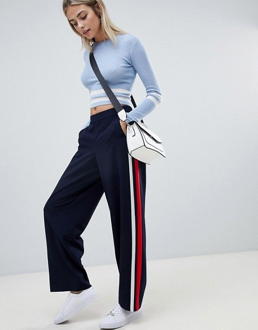 ffb06fcfd6 Only sports stripe wide leg pants | maayy | Striped wide leg ...