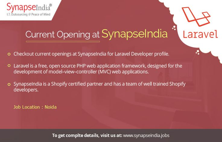 Checkout SynapseIndia current openings for Laravel Developer profile at: http://synapseindia-current-openings.weebly.com/blog/apply-now-for-synapseindia-current-openings-in-laravel-development