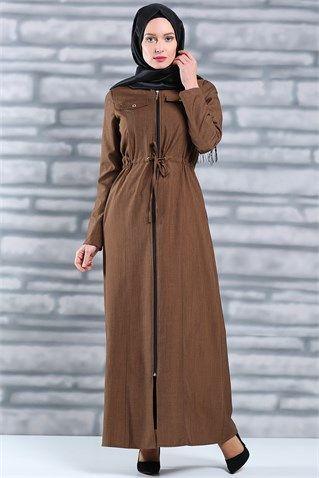 Tesettür Giyim Ferace Modelleri En Ucuz Fiyatlara En Kaliteli Ürünler Moda Sevinç'de ModaSevinç, 59,9 TL, Boydan Fermuarlı Bel Bağcıklı Ferace (Kahve)