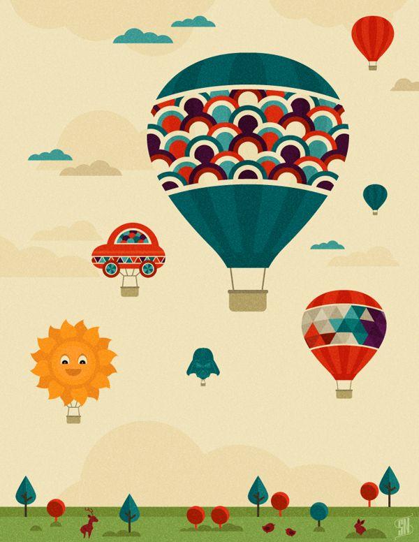 Hot Air Balloon Fiesta by Nico Lopez, via Behance  tattoo inspiration