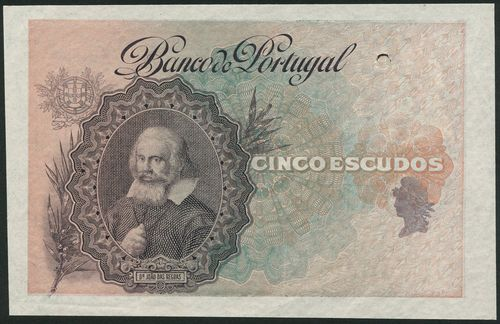 (†) Banco de Portugal, specimen proof 5 Escudos, ND (ca 1920), no serial numbers, no signature, brown-purple and blue on pink underprint, portrait of Dr. Joao das Regras at left, medallic female head at right, reverse blue and pink, Convent da Batalha at right, value at left, one punch hole