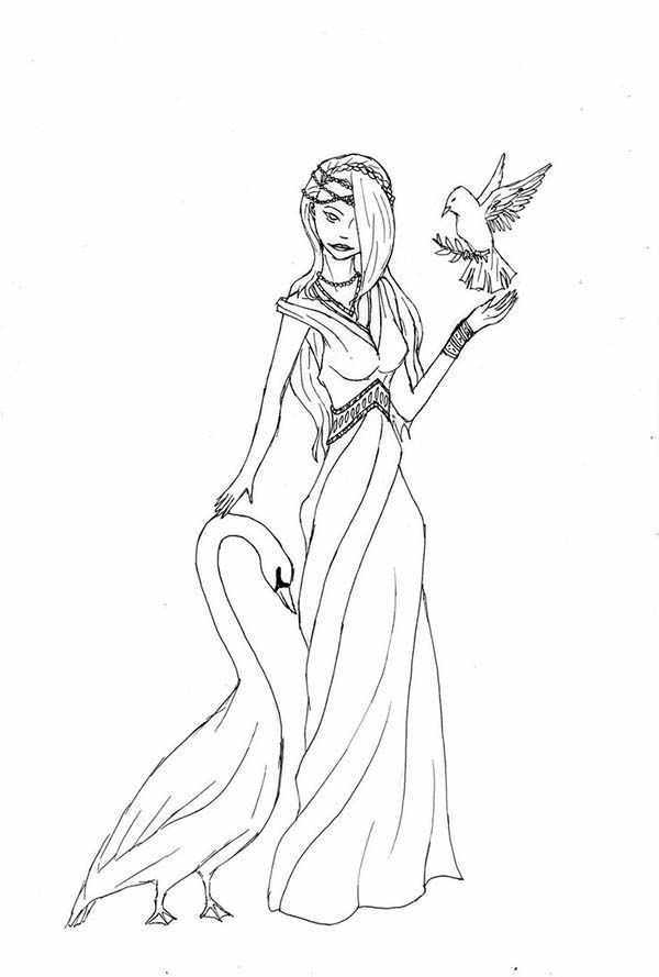 Aphrodite Aphrodite With Goose And Bird Coloring Page
