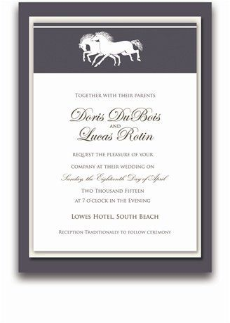 140 Rectangular Wedding Invitations - Horse Wisper Bronze by WeddingPaperMasters.com. $366.80. Now you can have it all! We have created, at incredible prices & outstanding quality, more than 300 gorgeous collections consisting of over 6000 beautiful pieces that are perfectly coordinated together to capture your vision without compromise. No more mixing and matching or having to compromise your look. We can provide you with one piece or an entire collection in a one stop shopping ...