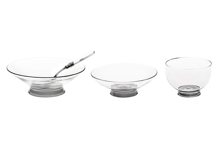 Bowl and platters set, available with grey or sanded base. Hand made Venetian glass. size: small – diam.14×9,5cm. medium – 21,5x8cm. big – 23×6,5cm