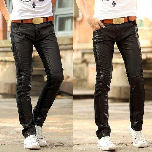 Pu lederen joggers mannen leren broek heren kunstleer broek Nieuwe mannen persoonlijkheid explosie modellen vechten skinny jeans