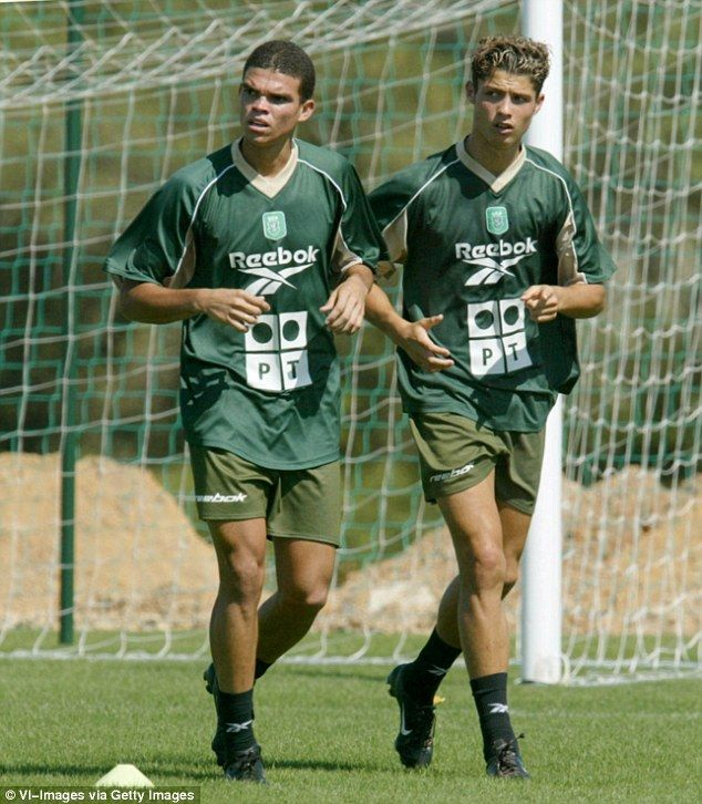 Young-looking Cristiano Ronaldo (right) and Pepe train with Sporting Lisbon in 2002