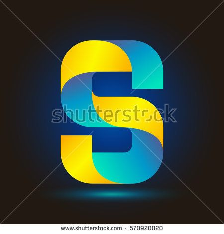 Letter S icon and logo template.  New design typographic. twisted. blue and yellow line