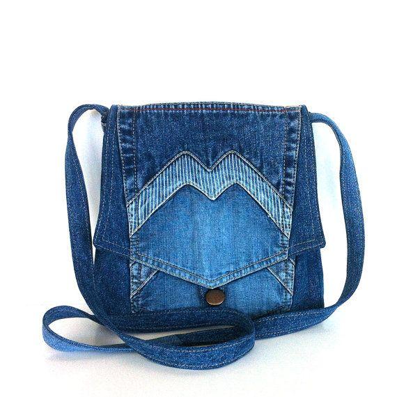 Small cross body bag , recycled jean messenger bag , blue denim cross over purse , Eco friendly bag