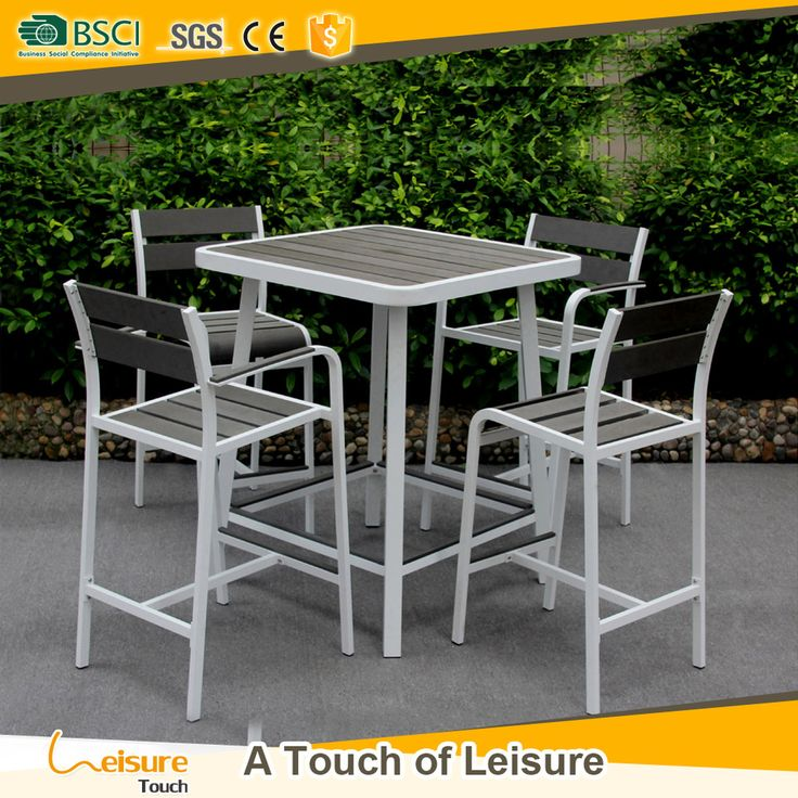 High Quality Outdoor Club Poly Wood Bar Table Set For Bistro Furniture  Small Tall Pub Table