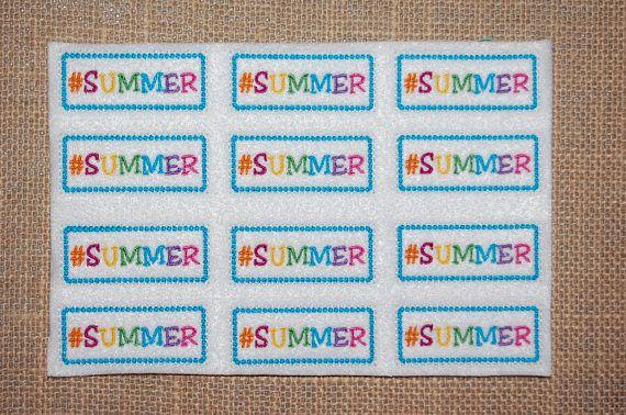 SUMMER Hashtag summer Embroidered Feltie Sheet