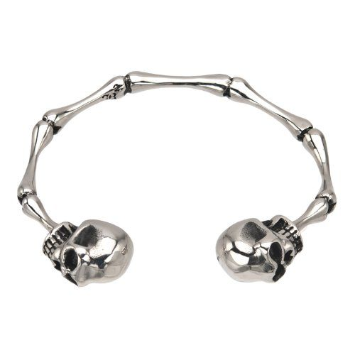 INOX 316L Stainless Steel Bangle Bracelet With Bone Links And A Skull On Each End  275 Diameter ** Read more reviews of the product by visiting the link on the image.