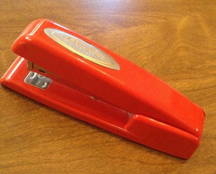 Swingline Stapler Bright Red Retro Vintage Art Deco Office Professional Classic