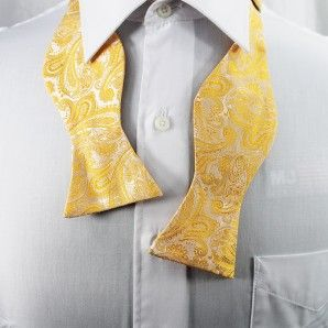Yellow Gold Paisley Bow Tie Set / Formal Business - Wedding Bow Tie Set