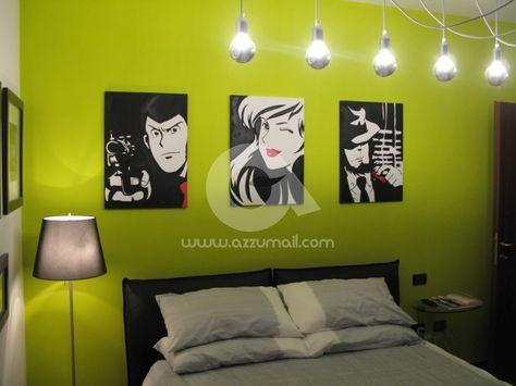 compro-vendo-cerco-offro-quadro-dipinto-a-mano-pop-art-fumetti-lupin-jigen-fujiko-margot-quadri-arredamento-casa-idea-regalo-originale-popart-arte-moderna-testata-letto-moderna