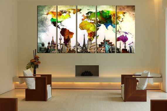 Abstract wall art world map canvas print extra by WorldWallArtShop