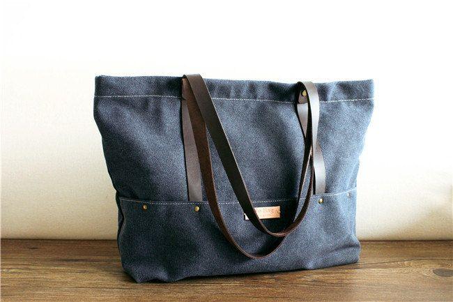 Grey Blue Leather Canvas bag Shoulder bagWomen's leather bag canvas Bagleather canvas Briefcasetote bagschool bag (49.00 USD) by SoBag1989