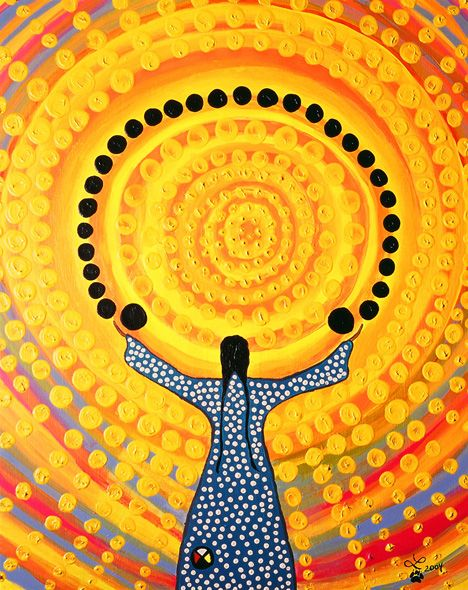 Leah Dorion - Grandfather Sun - Woman accepting his loving radiance into her total being.: Leah Dorion - Grandfather Sun - Woman accepting his loving radiance into her total being.